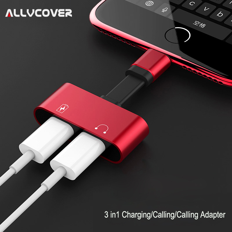 Allvcover 2 in 1 Charging Audio Adapter For iPhone 7 8 Plus X Charging Adapter Converter for Lightning Adapter Charger Splitter