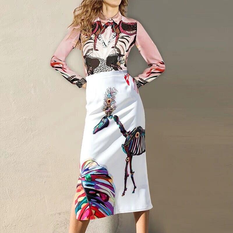 peint Dans Confortable Photo xxxl Drapé Tissu Jupe S Color Femme Animal Chemise Main Nouvelle Mode Version Haute 2018 Stock Qualité Costume Imprimé PRAxUq