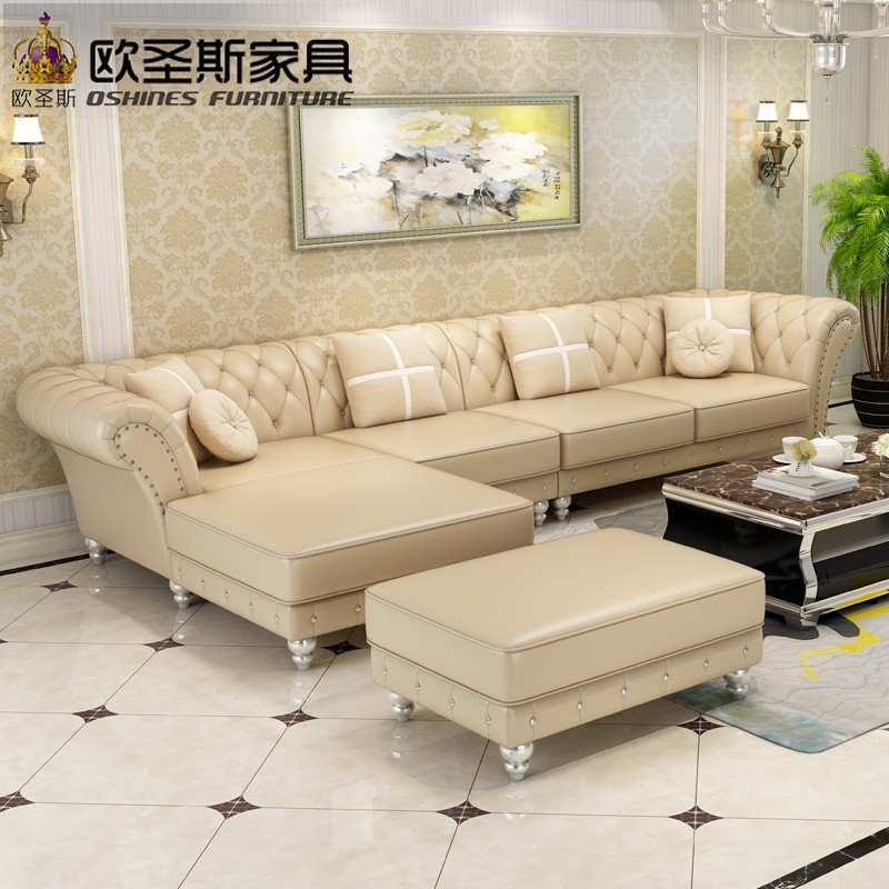 factory wholesale champagne l shaped corner sectional royal classical italian genuine leather sofa set with ottoman chair W38L morden sofa leather corner sofa livingroom furniture corner sofa factory export wholesale c59