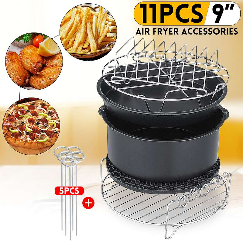 11pcs Air Fryer Accessories 9 Inch Fit for Airfryer 5.2 6.8QT Baking Basket Pizza Plate Grill Pot Kitchen Cooking Tool for Party|Electric Deep Fryer Parts| |  - title=