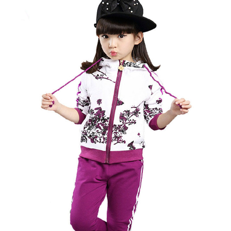 New Girls Sets Spring Autumn Baby Girls Clothes Jacket Floral Sports Hoodies Pants 2Pcs Sets Suit