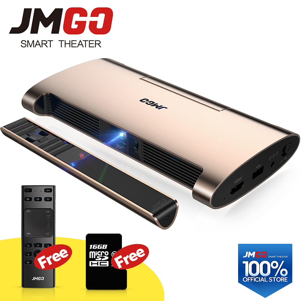 JMGO projecteur intelligent M6. Android 7.0, Soutien 4 k, 1080 P Décodage. Ensemble en WIFI, Bluetooth, HDMI, USB, stylo laser, mini projecteur