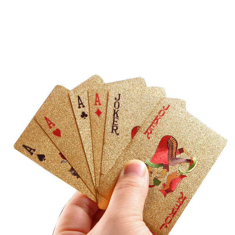 Golden Playing Cards Game PVC Waterproof Plastic Poker Set 54pcs Poker Classic Frosted Poker Game
