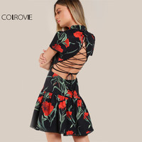COLROVIE Fit Flare Floral Dress 2017 Sexy Lace Up Back Women Drop Waist Summer Party Dresses