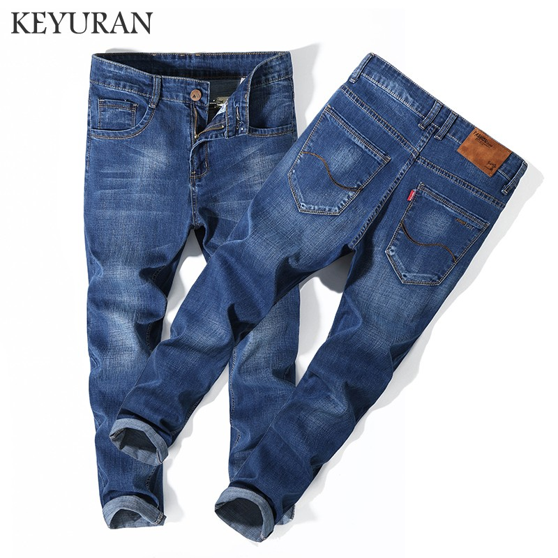 Men Jeans Business Casual Thin Summer Straight Plus size High waist Jeans Stretch Denim Pants Trousers Classic Cowboys Young Man