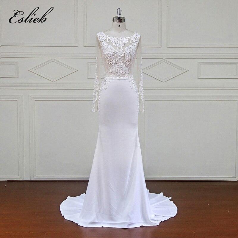 Eslieb Высокое качество оболочка Кружево свадебное платье рукавом индивидуальный заказ невесты платье Оболочка кнопку назад Vestidos De Noiva 2018