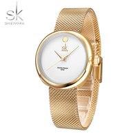SHENGKE Stainless Steel Wristwatch Fashion Lady Clock Top Brand Luxury Watches Women Quartz Watch Montre Femme