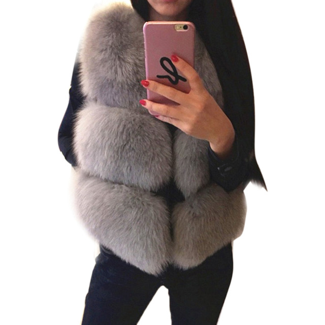 fcce32e07be41 Lanshifei New Arrival Winter Women Warm Soft Fake Fur Coat Outwear  Sleeveless Slim Thick Vest Faux Fox Fur Coat Jacket Waistcoat