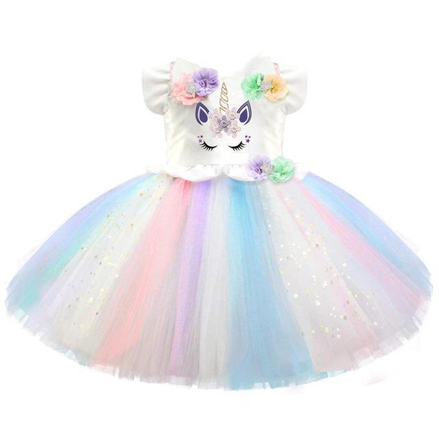 c88a70b1c530d Fancy Unicorn Dresses For Girls Size 1-5 Years Princess Colorful Tutu Dress  Costume Kids Unicorn Party Ball Gown Clothing Dress