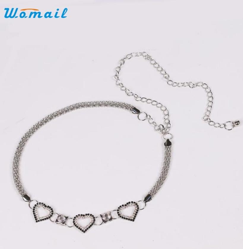Lady Fashion Rhinestone Heart Shape Metal Waist Chain Belts for Women ceinture femme Elegant Nobility A25