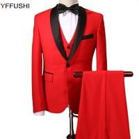 YFFUSHI Men Suit Purple/Red Tuxedo Terno Masculino 3 Pieces Wedding Suits for Men Party Dress Best Men's Blazer Plus Size 6XL
