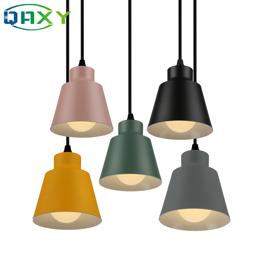 Modern Cute Colorful Aluminum Pendant Lamp Dining Room LED Lamp Suspendue E27 Yellow Pink Chandelier Lighting For Bedroom Parlor