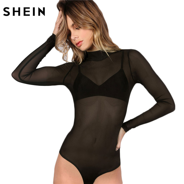 c604bd5784 SHEIN Bodysuit Women Body Suits for Women Sexy Romper Black Mock Neck Long  Sleeve Hollow Out Back Mesh Bodysuit