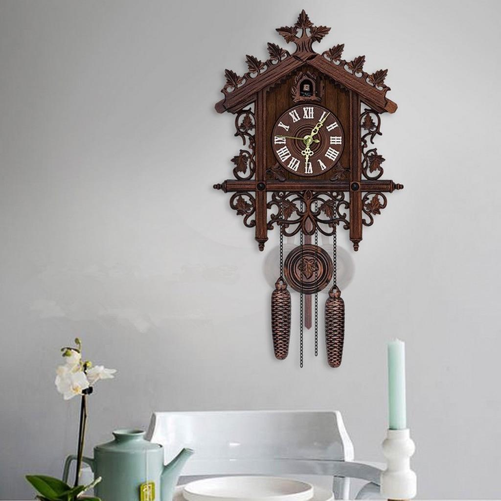 Retro Style Wood Cuckoo Wall Clock Battery Quartz Clock Vintage Antique Clock With Pendulum