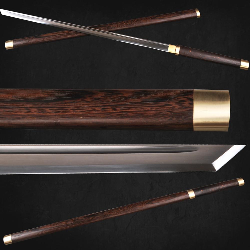 SHI JIAN იაპონური სამურაი Ninja Sword 1060 Carbon Steel Sharp Kirihaddururi Straight Blade Sword Full Tang Bo-hi ჭრის დანა