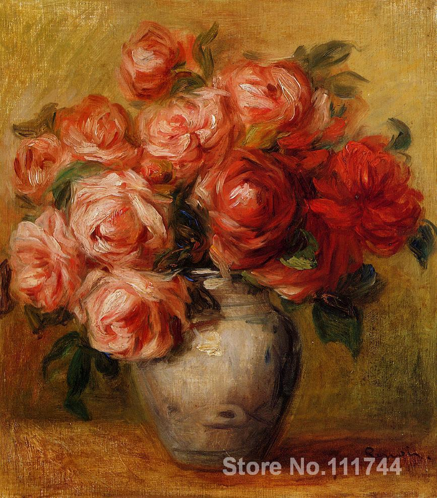 Still Life with Roses Pierre Auguste Renoir famous paintings oil canvas reproduction High quality Hand painted