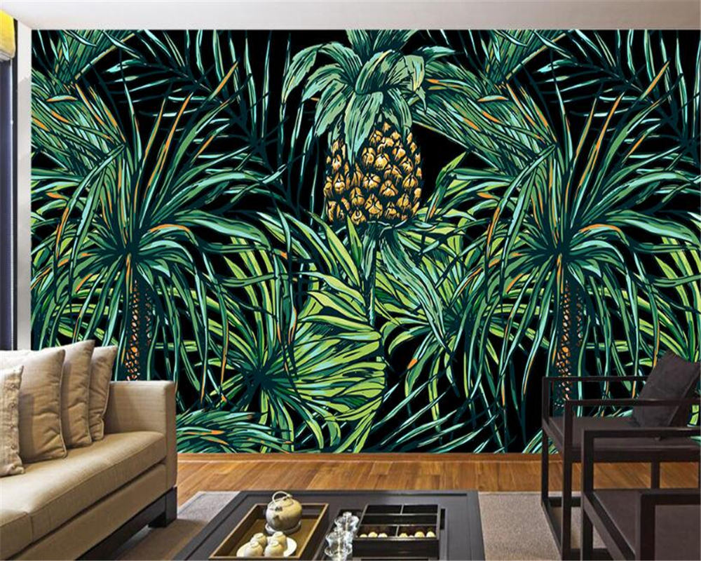 Us 8 7 42 Off Beibehang 3d Wallpaper Hd Hand Painted Southeast Asian Style Palm Tree Leaf Mural Living Room Bedroom Tv Background Mural Photo In
