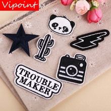 VIPOINT embroidery black star patch letter patches badges applique for clothing YX-122