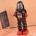 Classic Big Black Robot Tinplate Clockwork Toy Vintage Tin Wind Up Toys For Children  Handmade Crafts