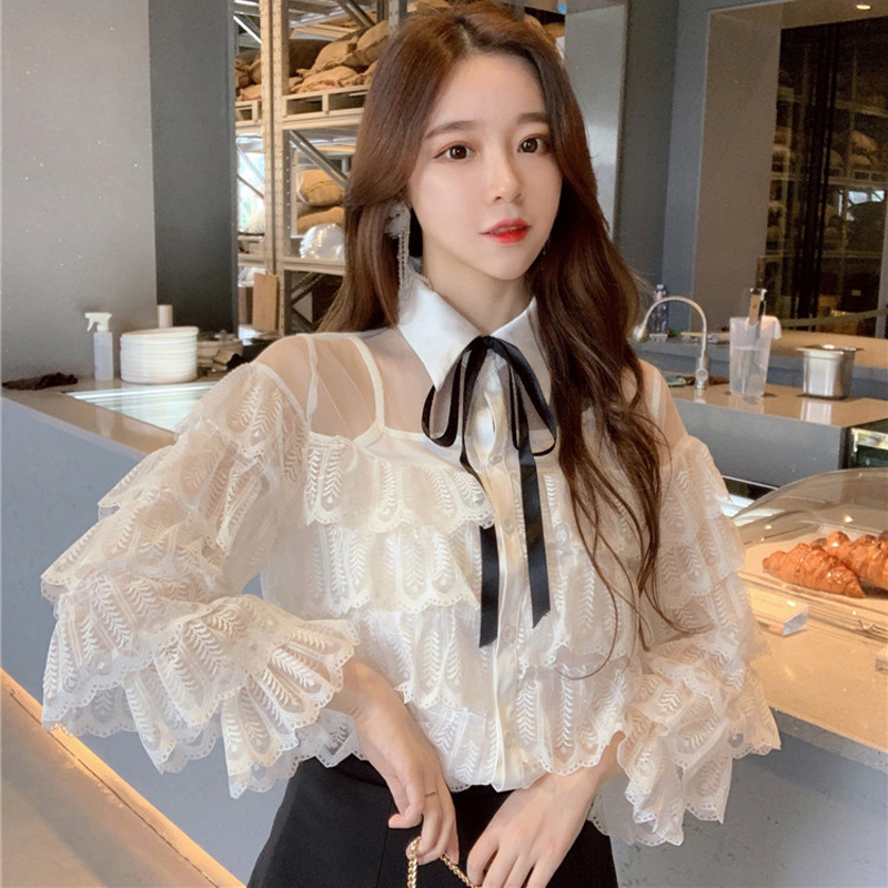 Vintage Lace Ruffles Ruched White   Blouse     Shirt   Women 2 Pieces Turn-down Loose Female Tops Casual blusas 2019 Spring Summer