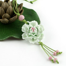 Ceramic handicraft carnation long necklace vintage flower sweater chain gifts accessory fashion party jewelry Christmas present