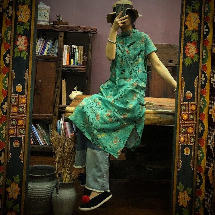 Vintage a-ligne manches courtes 2019 robe d'été mi-longue régulière col montant décontracté vert imprimé lin femmes robe
