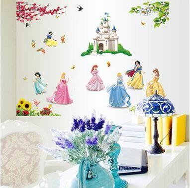 1 set 33*43 Inch Princesses Wall Stickers For Kids Room Snow White Decals Art Wall Hone Decoration Child Wallpaper 1317