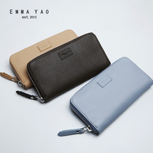 EMMA YAO  Women's leather long wallet Cowhide brand zipper wallet fashion handbag