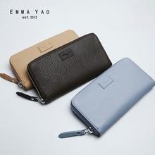 EMMA YAO  Women's leather long wallet Cowhide brand zipper wallet fashion handbag