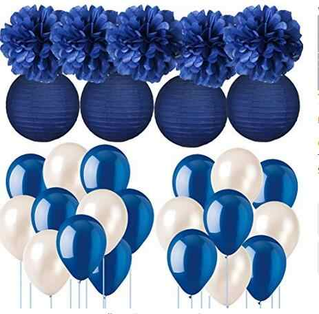 Navy Blue Wedding Decorations Tissue Paper Pom Poms Paper Lanterns with Balloons Kit for Birthday Party Supplies  Bridal Shower