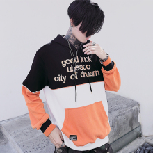 Men Women Letter Embroidery Long Sleeve Hoodie Pullover Jacket Male Colors Splice Fashion Casual Hip Hop Hooded Sweatshirt Coat