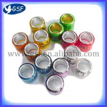 100pc  free shipping colorful Aluminium with plastic Pigeon Ring 8mm
