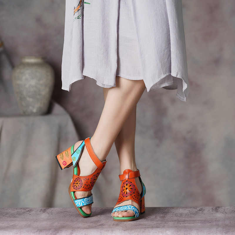 Fashion Woman Hollow Out Sandals National style leather  Women's Shoes Sexy Peep Toe Ankle Strap Soft Square High Heels Sandals
