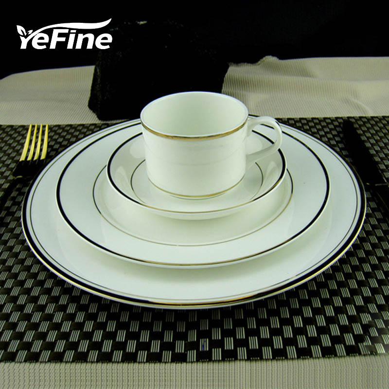 YeFine In Gold Porcelain Tableware Set Ceramic Dinner Plates And Dishes Advanced Bone Ch ...