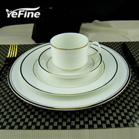YeFine In Gold Porcelain Tableware Set Ceramic Dinner Plates And Dishes Advanced Bone China Food Container And Coffee Cups