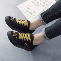 Gold Shoes lace New 2018 Spring Autumn Fashion Sneakers Black Canvas Shoes Women' Sneakers Platform Footwear Casual Trainers