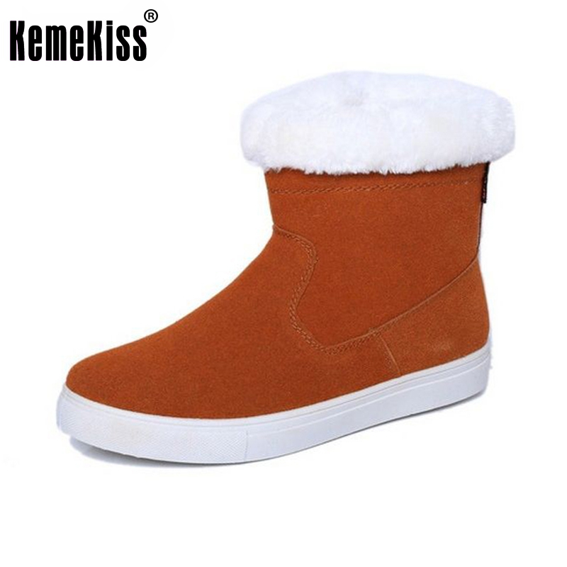 Size 35-40 Russia Winter Warm Thickened Fur Women Flat Half Short Ankle Snow Boots Cotton Winter Footwear Boot Shoes women real genuine leather flat ankle boots cotton snow half short bota quality warm winter boot footwear shoes r7603 size 34 40