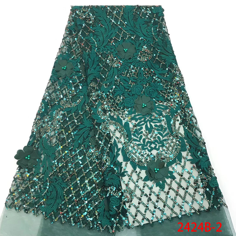 Golden Shining Sequins French Lace Fabrics With Beads 3D Flowers African Tulle Net Lace Fabric For