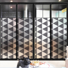 Frosted glass stickers Black and white geometry Bathrooms balcony door windows electrostatic transparent opaque film