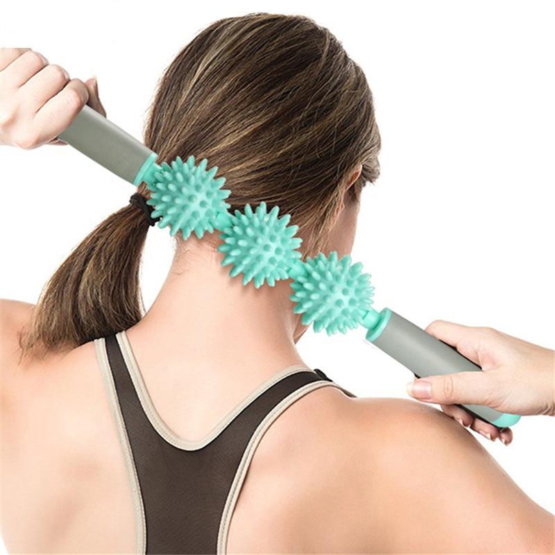 <+>  Тренажерный зал Мышцы Массажный Ролик Yoga Stick Массаж Тела Relax Инструмент С 3-мя Точками Spiky B ✔