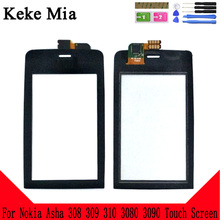 Keke Mia 3.0 New N308 Touch Screen For Nokia Asha 308 309 310 3080 3090 Touch Glass Front Glass Digitizer Panel Sensor цена