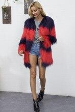 2017 fall/winter  warmed Faux fur parka overcoat Fashion women stripe V-neck soft coat