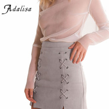 Adalisa Lace Up Women Leather Suede Pencil Cross Black Mini Skirt Winter 2016 High Waist Short Bodycon Skirts Sexy Split Skirts