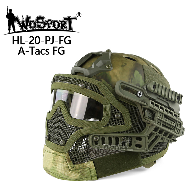 WoSporT New Tactical Cycling Helmet BJ MH PJ ABS Mask Goggle for Military Airsoft Paintball Army WarGame Hunting outdoor tactical wargame motorcycling helmet w eye protection glasses black size l7