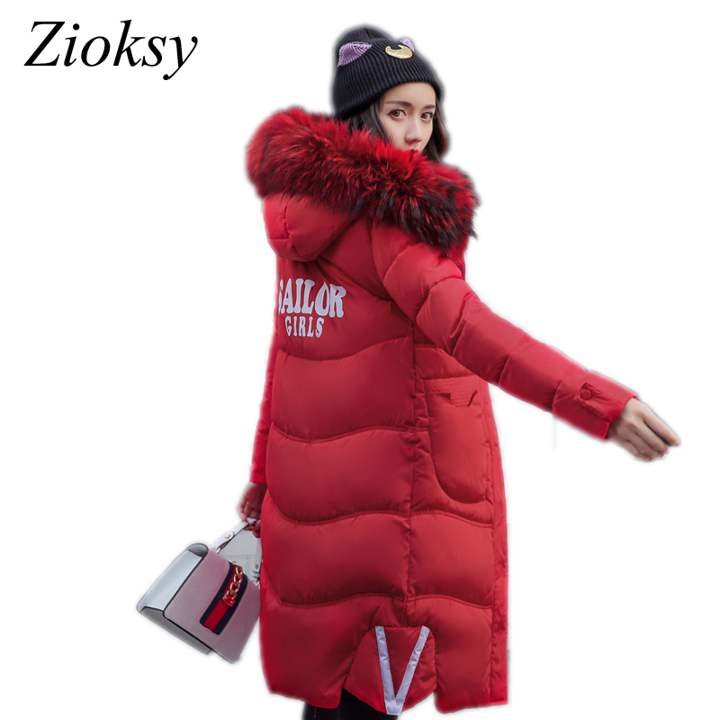 Zoksy 2017 New Winter Jacket Women Cotton-padded Parkas Jacket Large Fur Collar Female Warm Thick Long Winter Coat Women Outwear 2017 new winter cotton padded jacket women x long large fur collar parkas coat hooded thick warm female overcoat pw0728