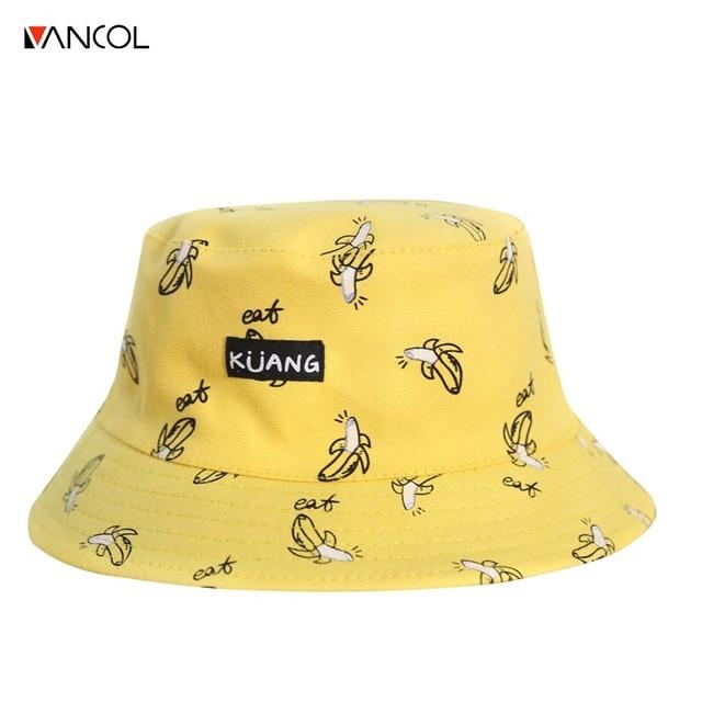 Vancol Two Side Reversible Bucket Hats Unisex Fashion Bob Caps Hip Hop  Gorro Panama Men Summer Caps Beach Sun Banana Bucket Hat e556df935ec