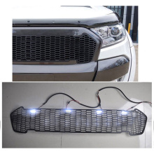 цена на MODIFIED OWN DESIGN GRILLS FRONT RACING GRILLE GRILL 4 WHITE LED  BUMPER MASK FIT FOR RANGER T7 XTL 2015-2018 CAR ACCESSORIES