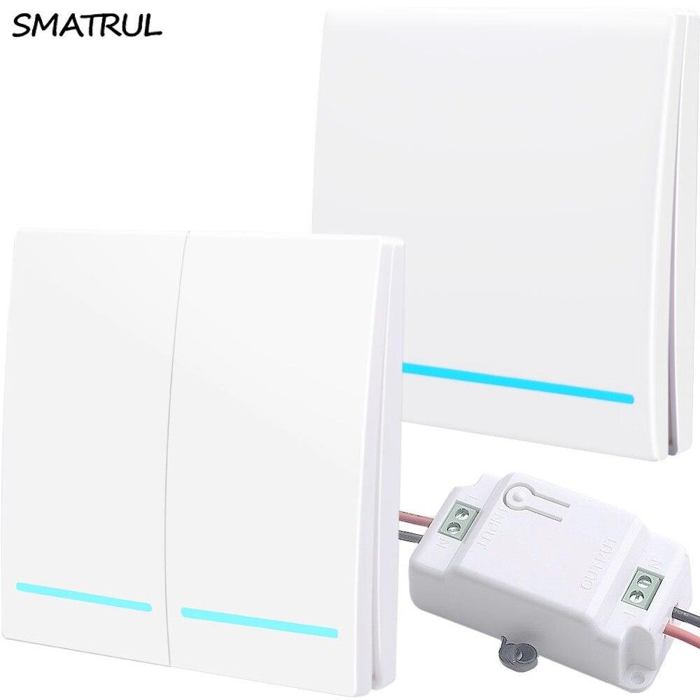 SMATRUL 433 Mhz Sem Fio inteligente Interruptor de pressão Controle Remoto RF Luz 1000 W 50 M AC 110 V 220 V receptor botão do Painel de Parede Do Quarto Da Lâmpada