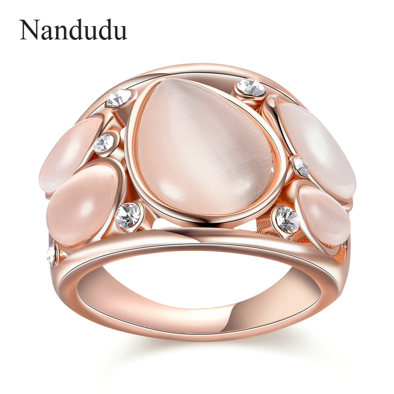 Nandudu Luxury Rose Gold Color Ring with For Women Wedding AAA Zircon Crystal Rings Jewelry R1814