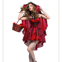New Sexy Little Red Riding Hood Costume Female Halloween Party Cosplay Fancy Dress Adult Women Fairy